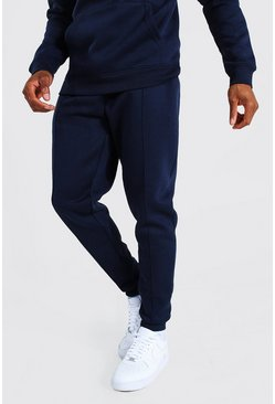 Navy Basic Slim Pintuck Jogger