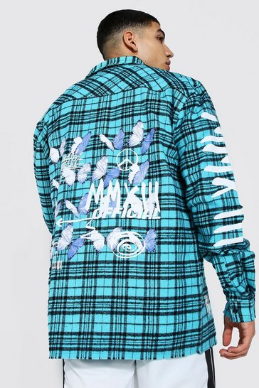 Blue Oversized Butterfly Back Print Check Shirt