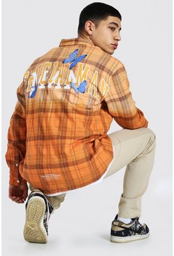 Orange Oversized Man Back Print Ombre Check Shirt