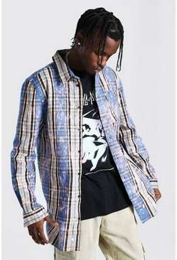 Light blue blue Longline Check Shirt With Bleach Splatter