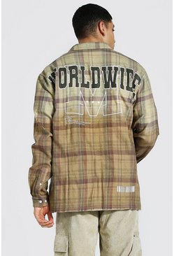 Light brown beige Oversized Back Print Ombre Check Shirt