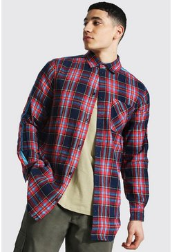 Longline Man Tape Check Shirt, Red rosso