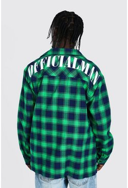 Green Oversized Check Shirt With Man Back Print