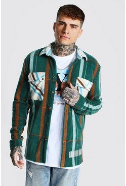 Khaki Oversized Check Shirt With Man Tab