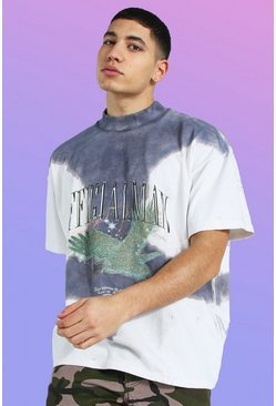 Beige Oversized Heavyweight Printed Tie Dye T-shirt