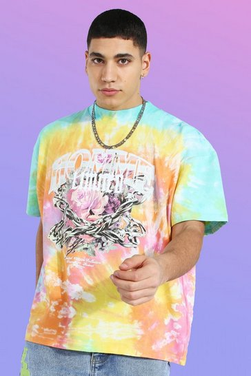 Multi Oversized Heavyweight Printed Tie Dye T-shirt