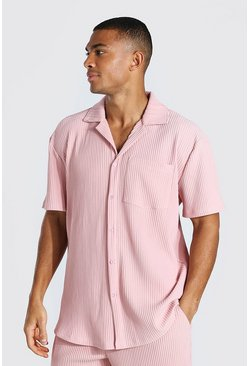 Dusky pink pink Pleated Short Sleeve Revere Shirt