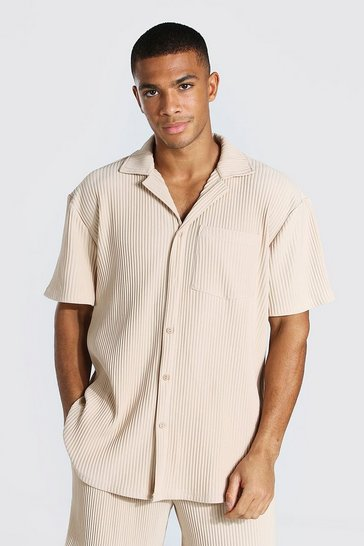 Taupe beige Pleated Short Sleeve Revere Shirt