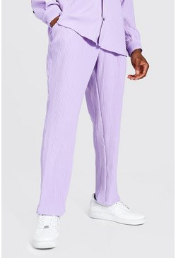 Lilac purple Pleated Slim Tapered Cropped Jogger Trouser