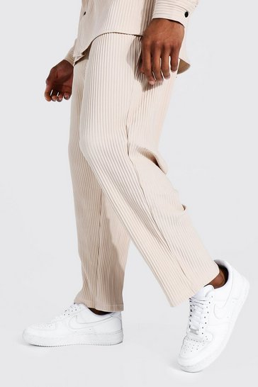 Taupe beige Pleated Slim Tapered Cropped Jogger Trouser
