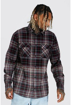 Heavyweight Ombre Check Overshirt, Charcoal gris