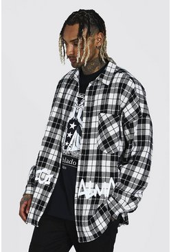 Oversized Check Graffiti Print Overshirt, Black negro