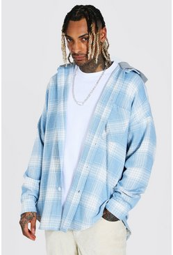 Pale blue blue Heavyweight Oversized Hooded Check Overshirt