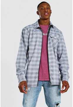 Multi Check Jacquard Utility Coach Zip Overshirt