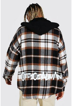 Forest green Hooded Graffiti Back Print Check Overshirt