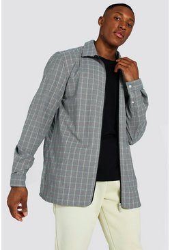 Black Check Jacquard Utility Coach Zip Overshirt