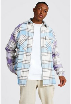 Light blue blue Oversized Long Sleeve Check Raglan Overshirt