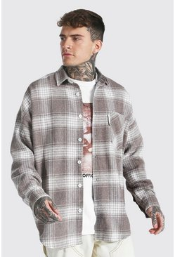 Taupe beige  Oversized Check Overshirt With Man Tab