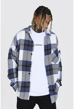 Cobalt blue Heavyweight Oversized Check Overshirt
