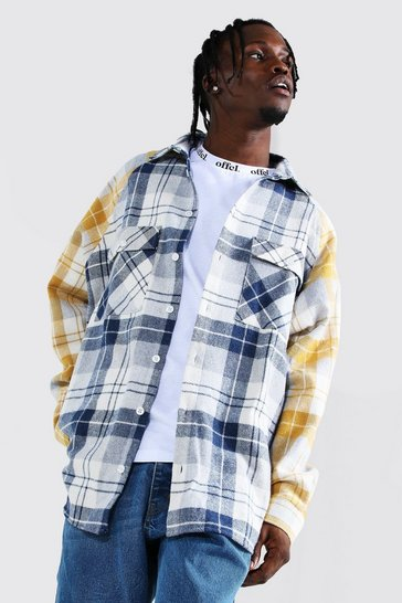 Navy Oversized Long Sleeve Check Raglan Overshirt
