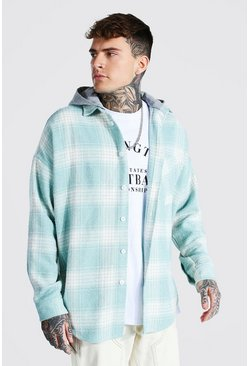 Mint green Heavyweight Oversized Hooded Check Overshirt