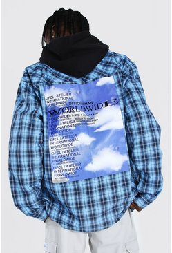 Light blue blue Oversized Cloud Back Print Check Overshirt