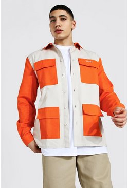 Long Sleeve Twill Colour Block Overshirt, Orange