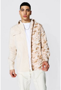 Ecru white Long Sleeve Twill Camo Spliced Overshirt