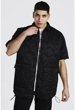Black Oversized Short Sleeve Quilted Shirt