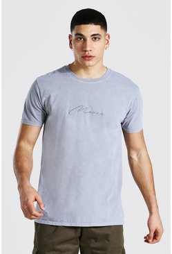 Mid grey grey Man Signature Overdyed T-shirt