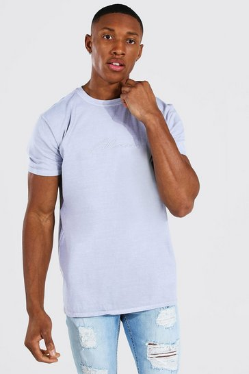 Light grey grey Man Signature Overdyed T-shirt