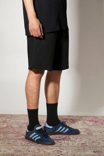 Black Basic Mid Length Loose Jersey Shorts