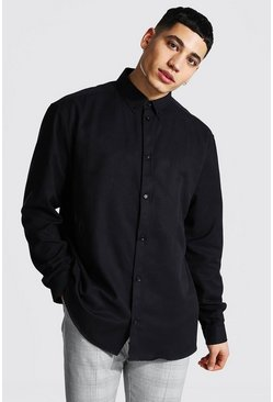 Black Long Sleeve Oversized Fit Oxford Shirt