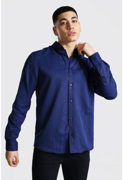 Langärmeliges Regular Fit Oxford-Shirt, Marineblau