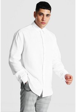 White Long Sleeve Oversized Fit Oxford Shirt
