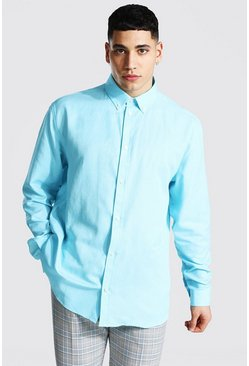 Mint green Long Sleeve Oversized Fit Oxford Shirt