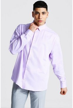 Long Sleeve Oversized Fit Oxford Shirt, Lilac viola