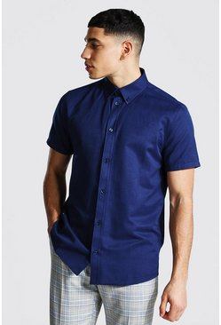 Navy Short Sleeve Regular Fit Oxford Shirt