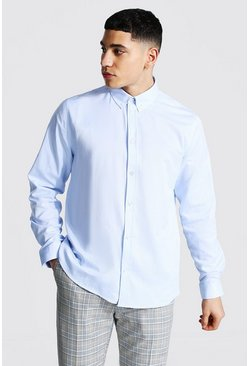 Long Sleeve Regular Fit Oxford Shirt, Pale blue azzurro