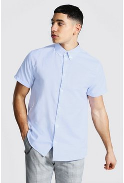 Pale blue blue Short Sleeve Regular Fit Oxford Shirt