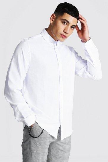 White Long Sleeve Regular Fit Oxford Shirt