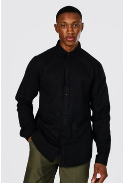 Black Long Sleeve Regular Fit Oxford Shirt