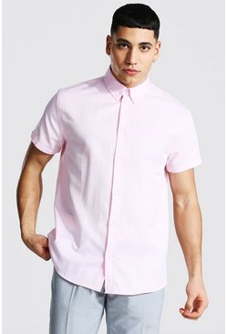 Short Sleeve Regular Fit Oxford Shirt, Pink rosa