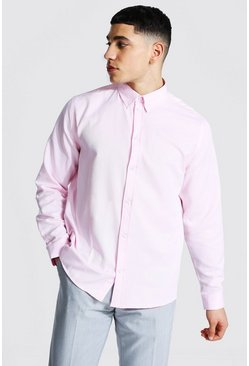 Long Sleeve Regular Fit Oxford Shirt, Pink rosa