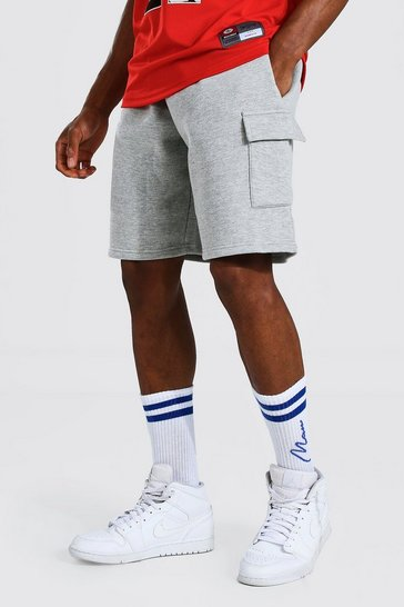 Grey marl grey Basic Mid Length Loose Cargo Jersey Shorts