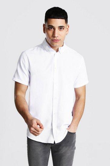 White Short Sleeve Regular Fit Oxford Shirt