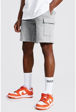 Basic Mid Length Cargo Jersey Short, Grey marl gris