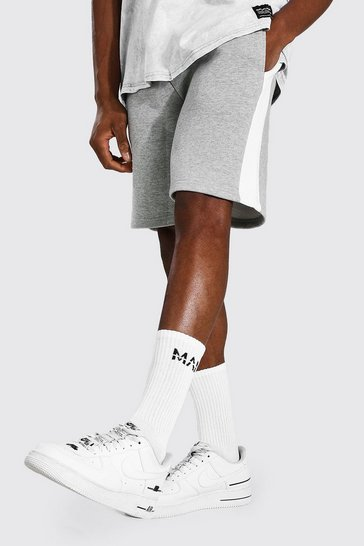Grey marl grey Basic Mid Length Side Panel Jersey Shorts