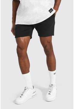 Black Basic Short Length Slim Jersey Shorts