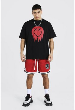 Red Oversized Drip Face Tee and Mesh Short Set